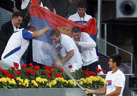 Slavlje nakon pobede u finalu Madrida nad Nadalom 2011. godine
