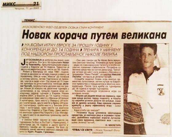 Clanak o Novaku Djokovicu iz 2002. godine