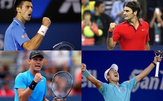 Djokovic, Federer, Berdih, Nisikori